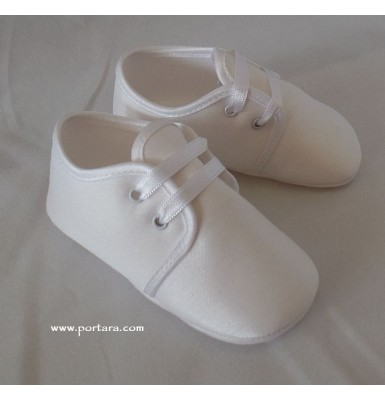 White or Ivory Low Cut Silk Fashion Christening Baptism Shoes for Your Baby Boy