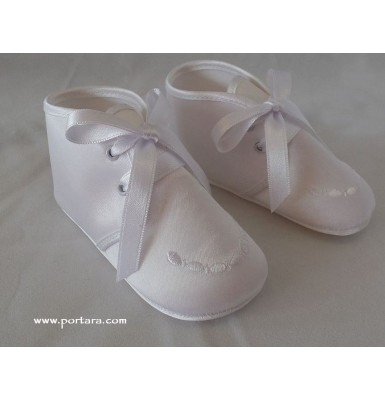 The Little Angel White or Ivory Silky Baptismal Shoes