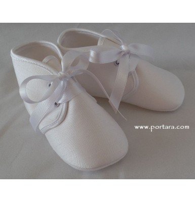 White or Ivory Silk Fashion Christening Shoes for Your Baby Boy