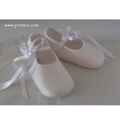 Stylish White or Ivory Silky Satin Baby Girl Baptism Shoes