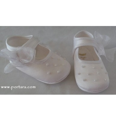 Silk and Pearls Baby Girl Christening Shoes