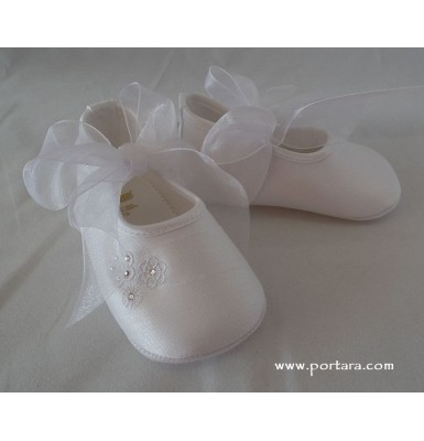 White or Ivory Silk Ballerina Fashion Christening Baptism Shoes for Your Baby Girl