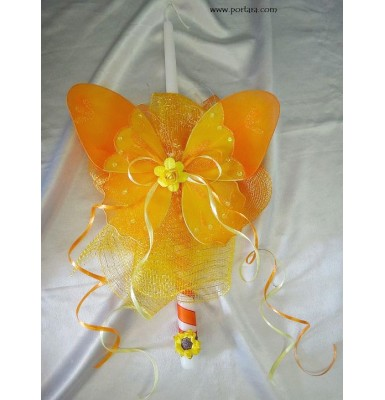 Orange Butterfly Easter Candle - Lambatha