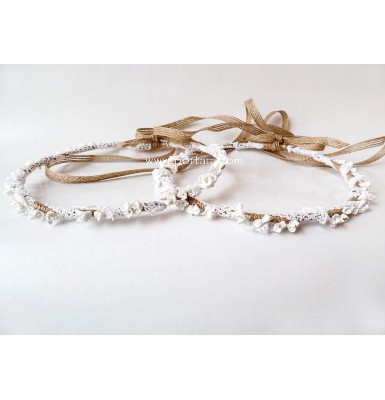 Artistic Enchanted Treasures Wedding Crowns in White~ Stefana ~ Earth Collection