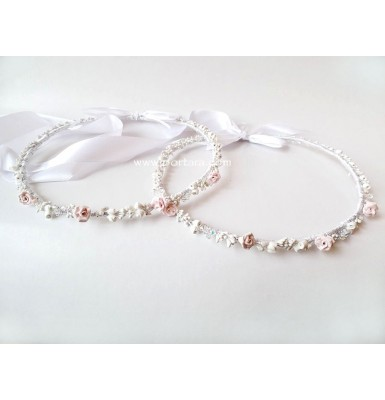 Gorgeous Light Pink Sculpted Roses ~ Orthodox Wedding Crowns ~ Stephana