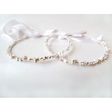 Gorgeous Light Pink Sculpted Roses and White Jasmine Flowers~ Orthodox Wedding Crowns ~ Stephana
