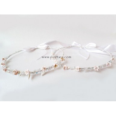 Spectacular Sculpted Pale Pink Roses Wedding Crowns ~ Stephana