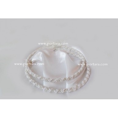 Adorable White Rope Embroidered Wedding Crowns Stephana with Pearls