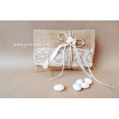 Lace and Burlap Envelope with Porcelain Roses Wedding Favor