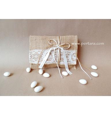Lace and Burlap Envelope Wedding Favor