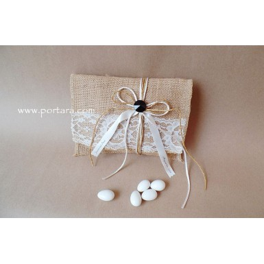Lace and Burlap Envelope with a Sparkling Gemstone Wedding Favor