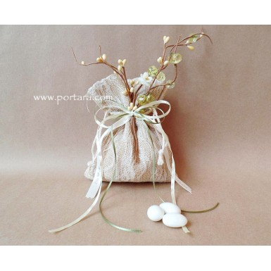 Lace and Burlap with Crystals Bomboniere Favor Idea