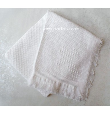 An Adorable White Woven Baby Blanket ~Unisex
