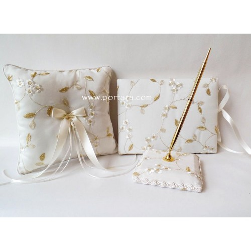 A Magnificent Ivory Silk and Gold Beauty Guest Book, Pen and a Pillow