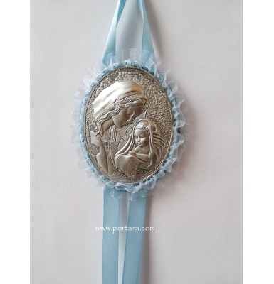 Virgin Mary Hanging Crib Icon in Baby Blue