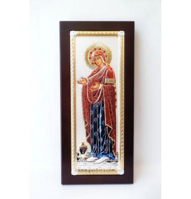 Colorful Panagia Gerontissa Icon with Red Crystals