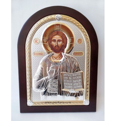 Silver and Gold Plated Jesus on a Mahogany Wood Icon