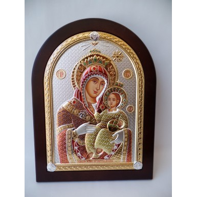 Colorful Virgin Mary Silver with Gold Icon on Mahogany Wood