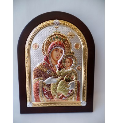 Colorful Virgin Mary Silver with Gold Icon on a Mahogany Wood