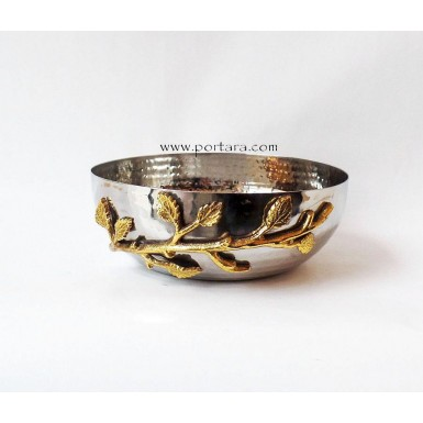 Golden Vine Hammered Stainless Steel Salad Bowl Favor