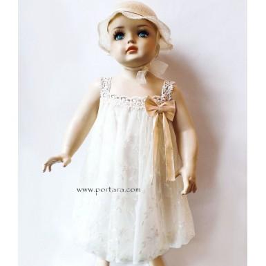 Anthe Raw Silk Vintage Beauty Baptism Dress