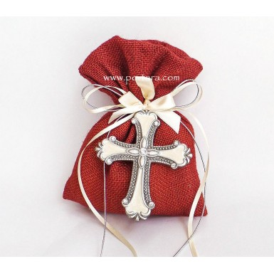 Silver with Crystals Cross on a Colored Burlap Bag Christening Favors