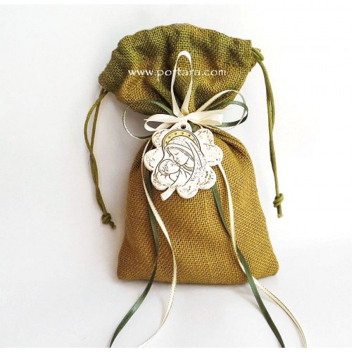 Hanging Flower Shaped Ornament Icon on a Burlap Bag Christening Favors