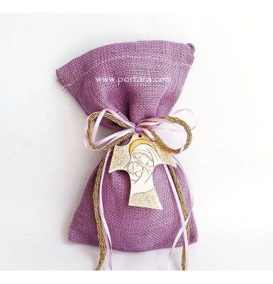 Handmade Cross with Golden Accents on a Burlap Bag Christening Baptism Favors