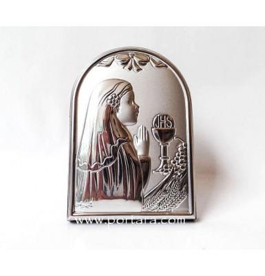 Communion Girl Silver on a Mahogany Tree Icon Gift Idea