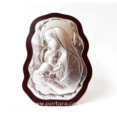 Virgin Mary and Child Silver on a Mahogany Tree Scalloped Icon Gift Idea