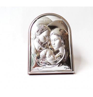 Holly Family Silver on a Mahogany Icon Gift Idea