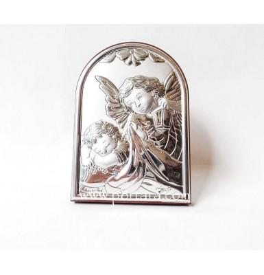 Angel Silver Icon on a Mahogany Tree Gift Idea