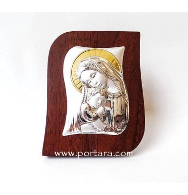 Silver and Gold on a Mahogany Tree Virgin Mary and Child Icon Gift Idea