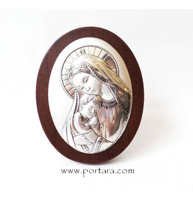 Virgin Mary and Child Oval Silver Plated on a Mahogany Tree Icon Gift Idea