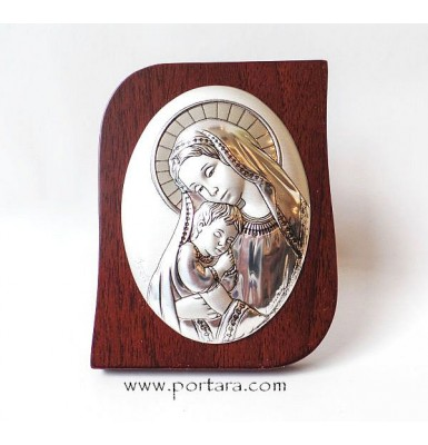 Virgin Mary and Child Rectangular Silver Plated on a Mahogany Tree Icon Gift Idea