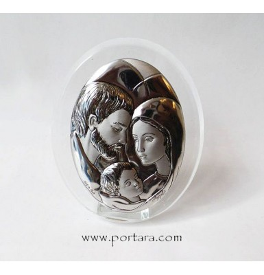 Holly Family Silver Plated on a Crystal Oval Frame Icon Gift Idea