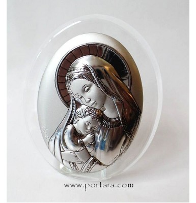 Virgin Mary Silver Plated on a Oval Crystal Frame Icon Gift Idea