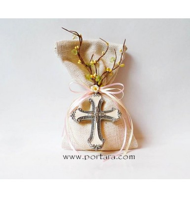 Silver with Crystals Cross on a Natural Burlap Bag Christening Favors