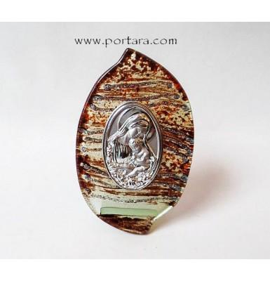 Virgin Mary with Child Murano Glass Icon Favor Idea