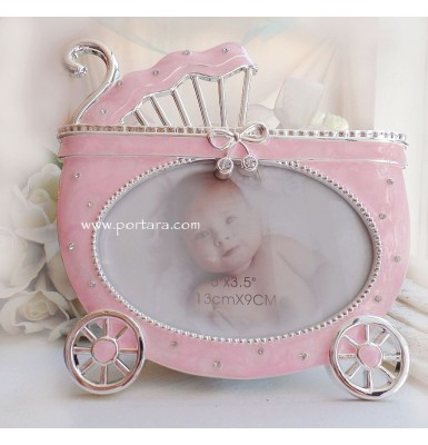 Baby Carriage in Pink and Silver Photo Frame with Crystals