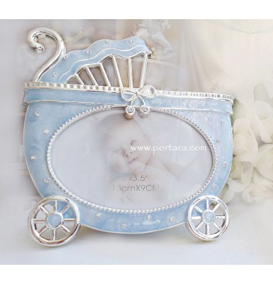 Baby Carriage in Light Blue and Silver Photo Frame with Crystals