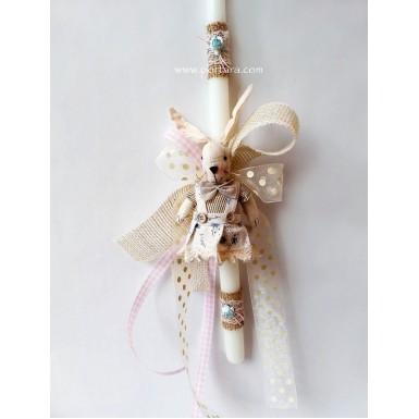 Vintage Bunny Baby Girl Easter Candle ~ Labatha