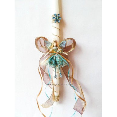 The Mystical Hand Made Fairy in Gold and Blue Easter Candle ~ Labatha