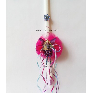 The Mystical Hand Made Fairy in Fuschia Easter Candle ~ Labatha
