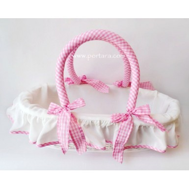 Baby Doll Pink and White Gingham Keepsake Basket