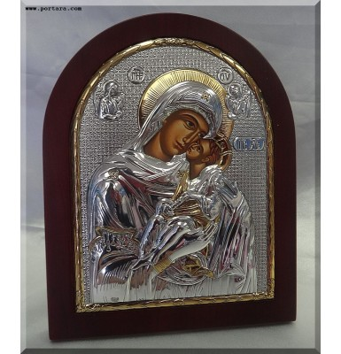 Amazing Virgin Mary Silver with Gold Icon on Mahogany Wood