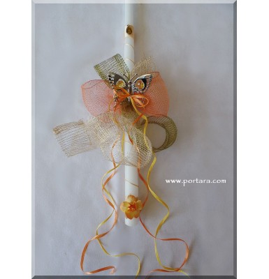 Chrome Plated Butterfly with Yellow Austrian Crystals Easter Candle ~ Lambatha