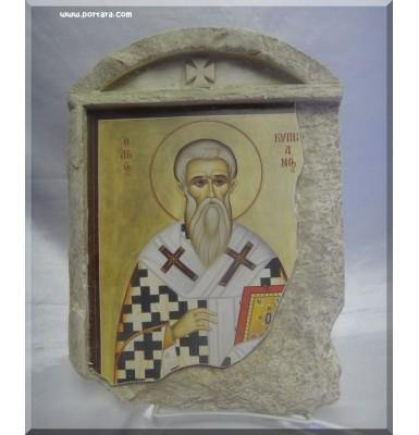 Saint Kiprianos Icon on Stone