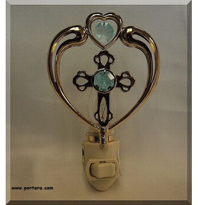Cross in Heart 24K Gold Plated with Genuine Austrian Swarovski Crystals Night Light