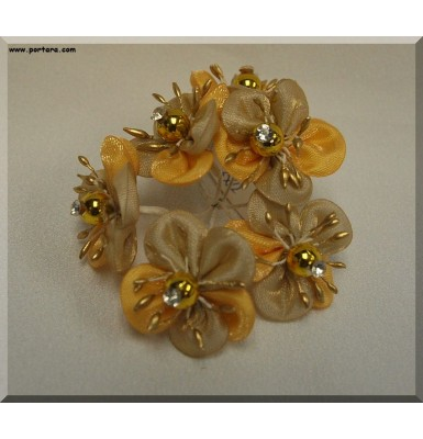 Golden Silk Flowers with Pearl Centers
